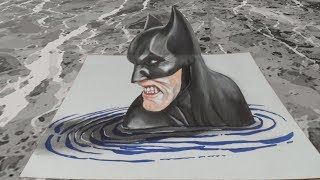 Batman in the Water - Drawing 3D Illusion on Paper - VamosART