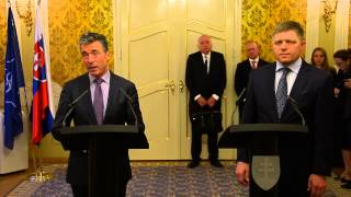 NATO Secretary General with Prime Minister of Slovakia - Joint Press Point