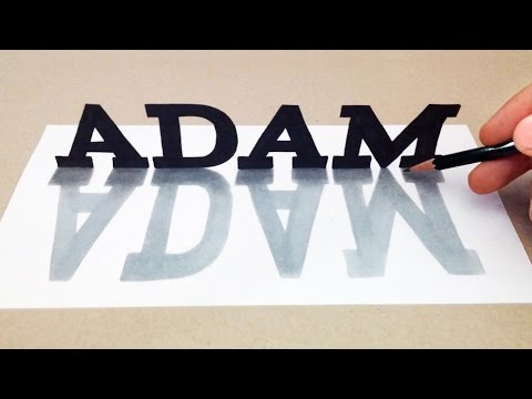 3D Names Drawing On Paper