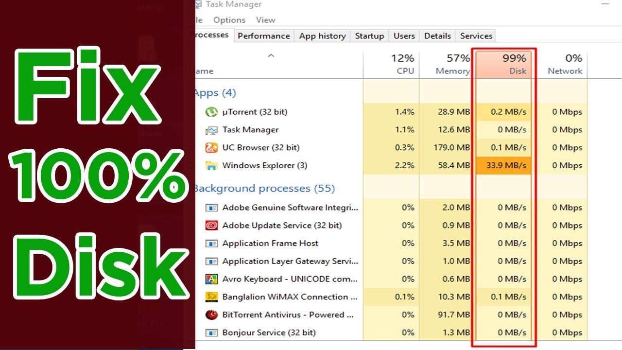 100 disk usage windows 10 fix