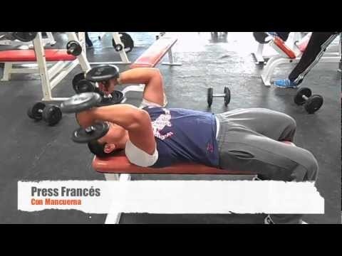 press frances mancuernas triceps