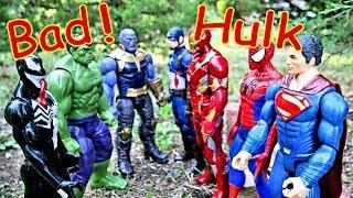 Bad Hulk vs Superman, Iron Man, Captain America + Spiderman, Thanos, & Venom Superhero Battle!