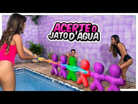 DESAFIO DO JATO DE ÁGUA COM ELES NA PISCINA!!!‹ BEM MENININHAS ›