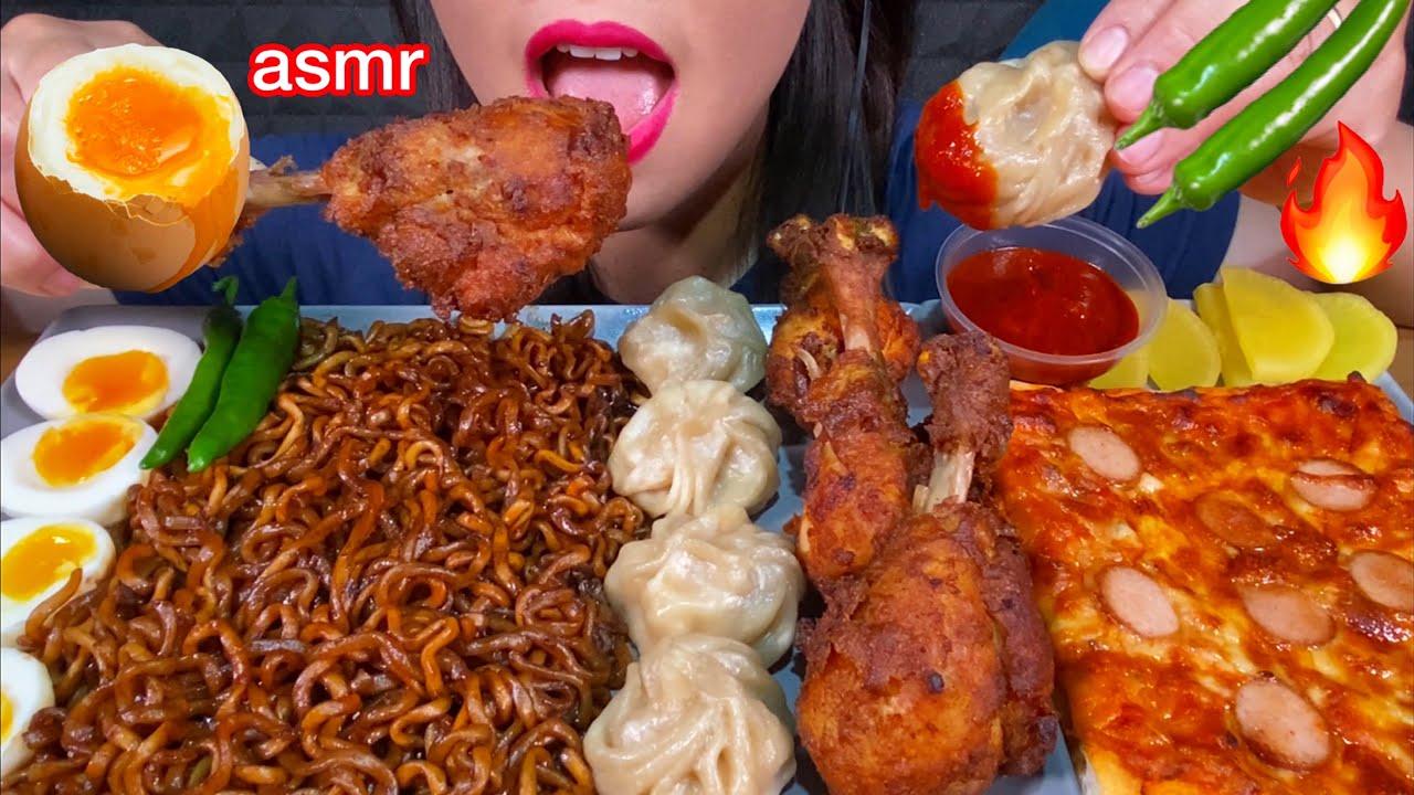 ASMR BLACK BEAN NOODLES, MOMO, CHILI FRIED CHICKEN, EGGS, PIZZA MASSIVE Eating Sounds