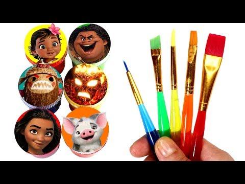 Moana Drawing and Painting with Surprise Toys Maui Hei Hei Pua Kakamora Te Ka Chief Tui Fun for Kids