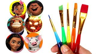 Moana Drawing and Painting with Surprise Toys Maui Hei Hei Pua Kakamora Te Ka Chief Tui Fun for Kids