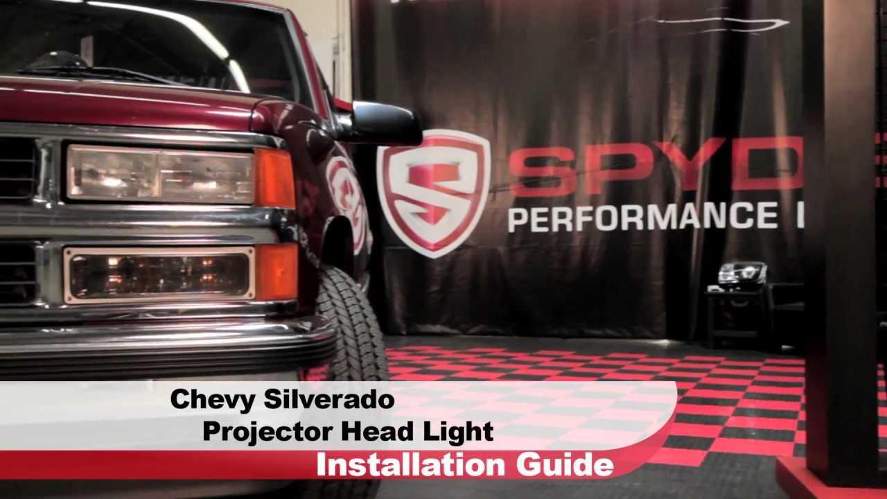Spyder auto installation 1988 98 chervolet silverado gmc sierra projector head light youtube