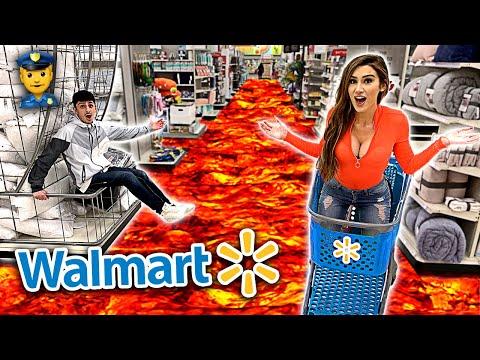 FLOOR IS LAVA CHALLENGE IN WALMART! (banned forever) ft. Molly Eskam