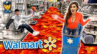 FLOOR IS LAVA CHALLENGE IN WALMART! (we got banned) ft. Molly Eskam