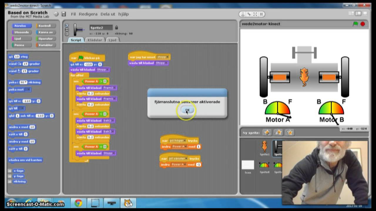 Control 2 Motor Lego Wedo With Kinect And Scratch Youtube
