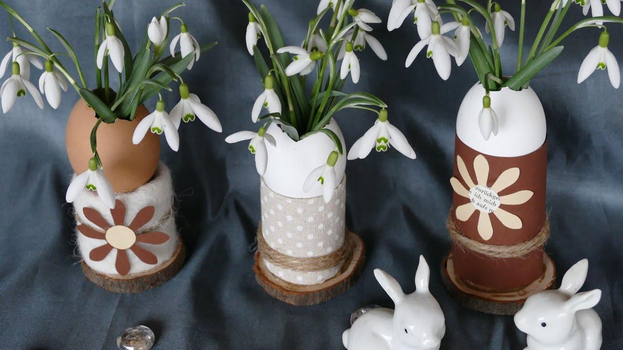 fr hlingsdeko basteln schneegl ckchen in vase aus eierschalen youtube. Black Bedroom Furniture Sets. Home Design Ideas