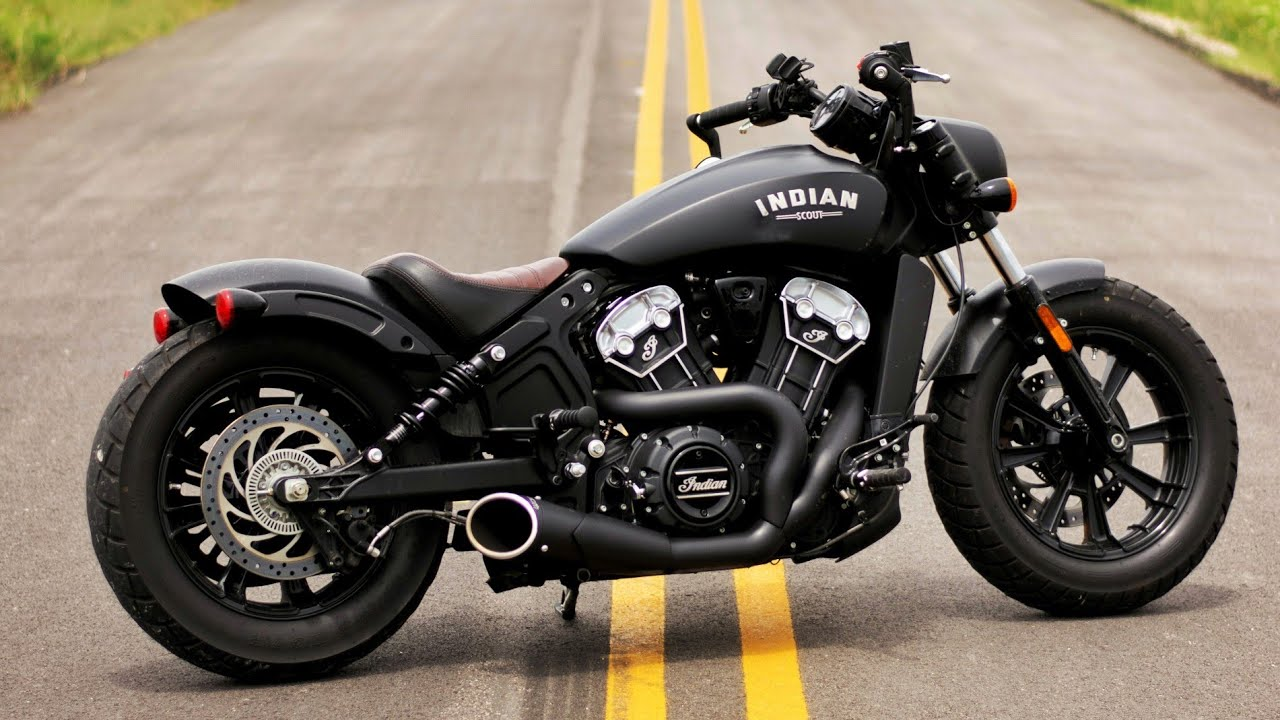 indian scout bobber freedom performance 2 into 1 combat exhaust 1st impressions and sound test