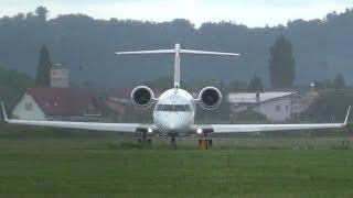 Adria Airways CRJ-700 rainy takeoff at Graz Airport   S5-AAY
