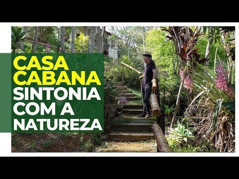 MORAR EM HARMONIA COM A NATUREZA - CASA CABANA COM JARDIM IMENSO, CONSTRUÍDA COM REUSO DE MATERIAIS