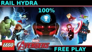 Lego Marvel Avengers Rail Hydra free play 100% all minikits and collectibles