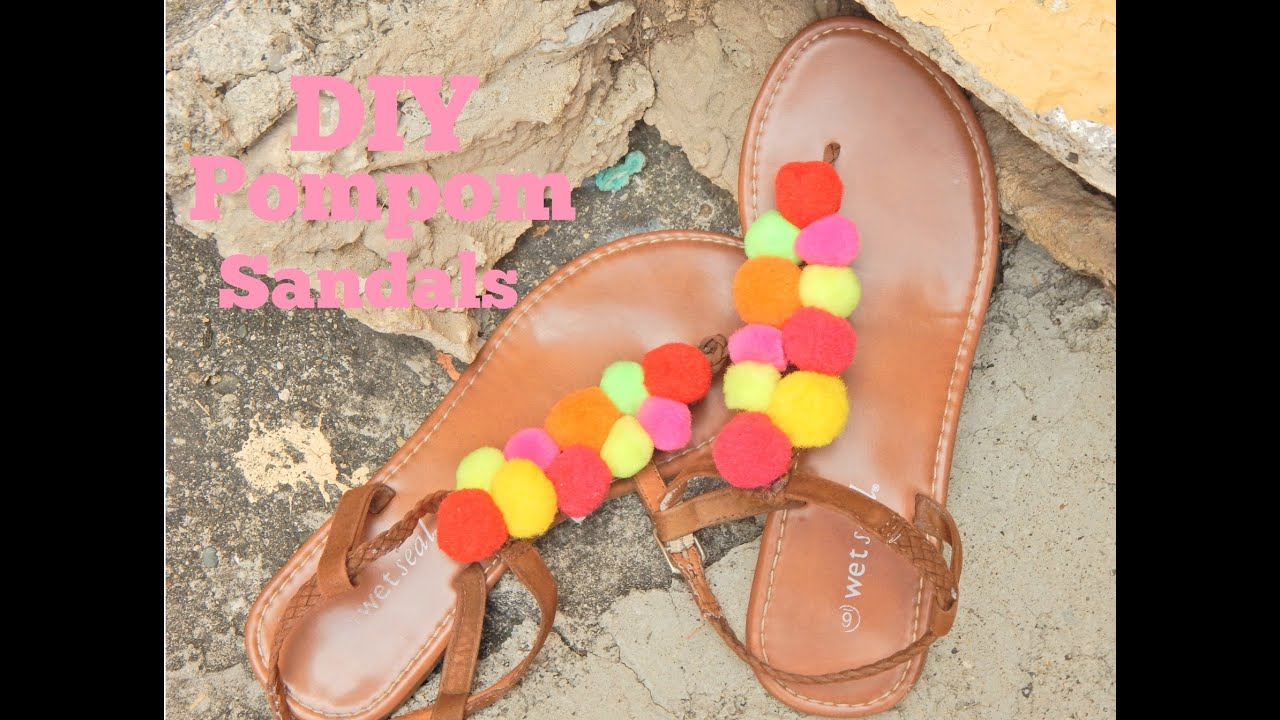 52d2d12ae DIY  Pom pom Sandals - YouTube