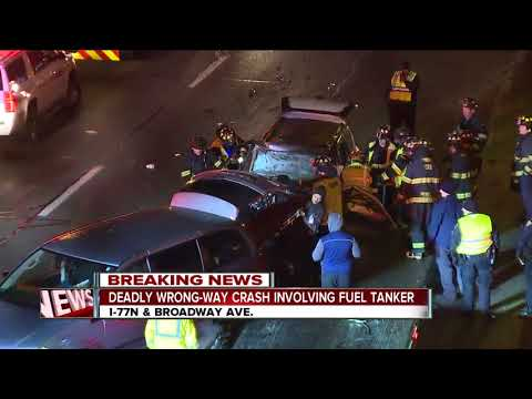 Wrong-way driver causes fatal crash involving tanker truck on I-77 North at Broadway Ave. exit