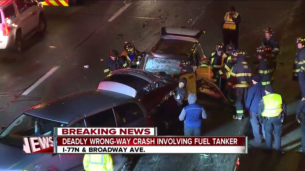 Wrong-way driver causes fatal crash involving tanker truck on I-77 North at  Broadway Ave  exit
