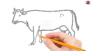 cow drawing draw step simple easy cows drawings beginners tutorial getdrawings paintingvalley