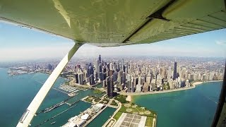 Chicago Skyline From The Air   Cessna 172   ATC Audio