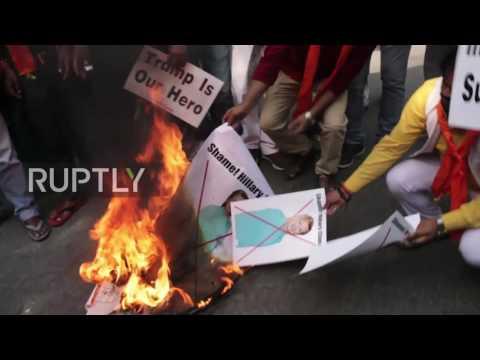 india-hindu-trump-supporters-rage-against-clinton-in-new-dehli
