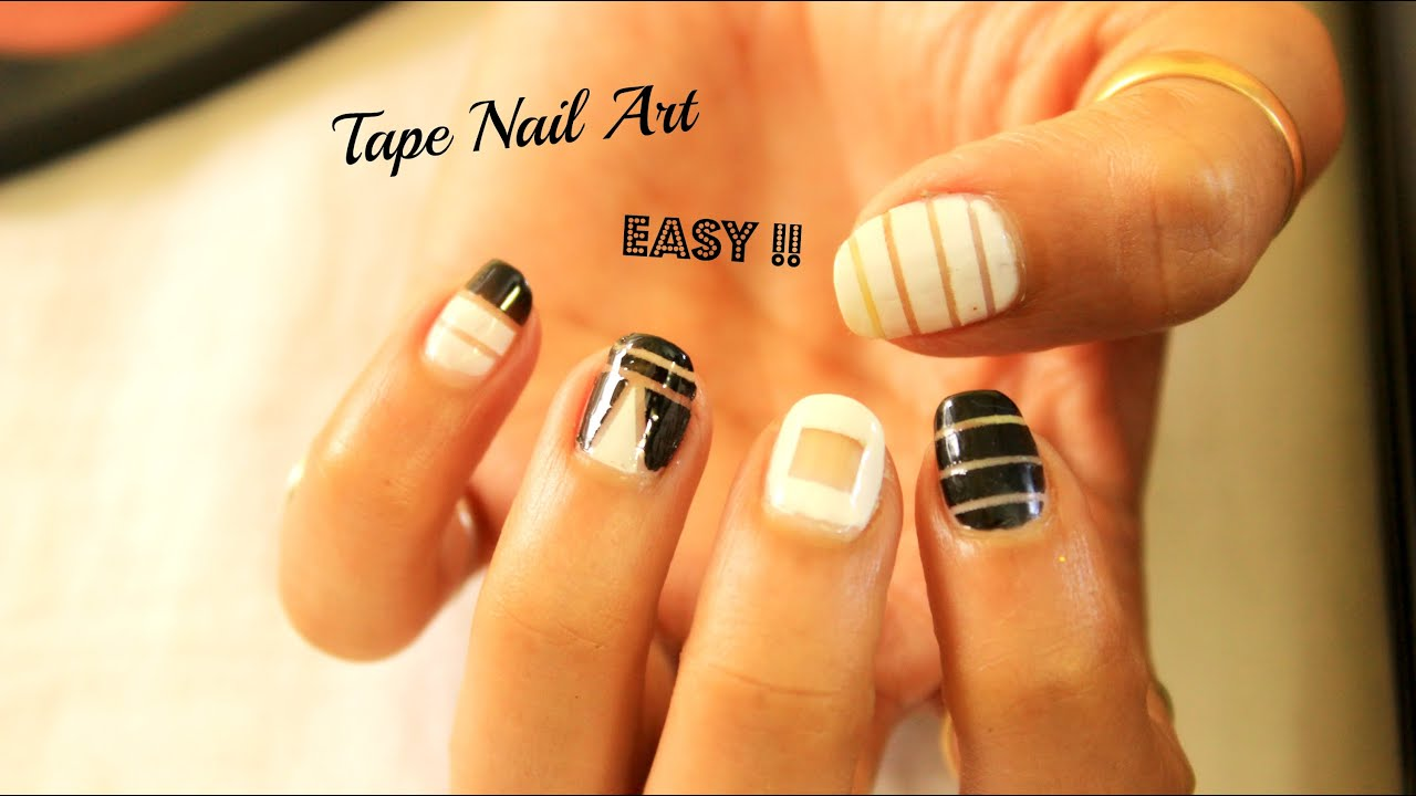 easy at home nail designs for short nails. 4 Easy and Quick Tape Nail Art designs for short nails  art beginners YouTube