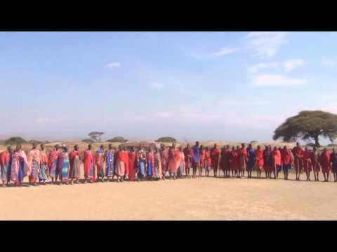 Maasai song, traditional jumping dance and sand storm