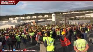 Binlerce işçi çalışma koşullarını protesto etti ( 3. Havalimanı inşaatı eylemi )