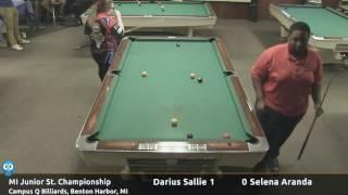 Darius Sallie vs Selena Aranda (18 and under) - Michigan Junior State 9-Ball Championship thumbnail