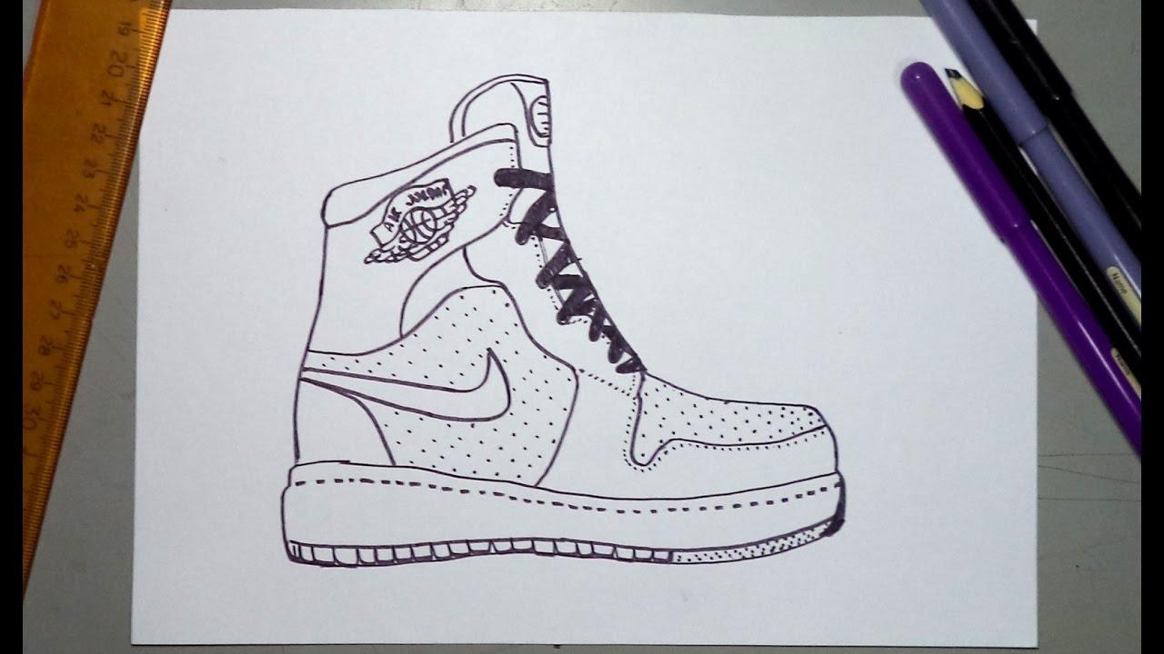 Cómo dibujar unas tenis Nike Jordan - YouTube