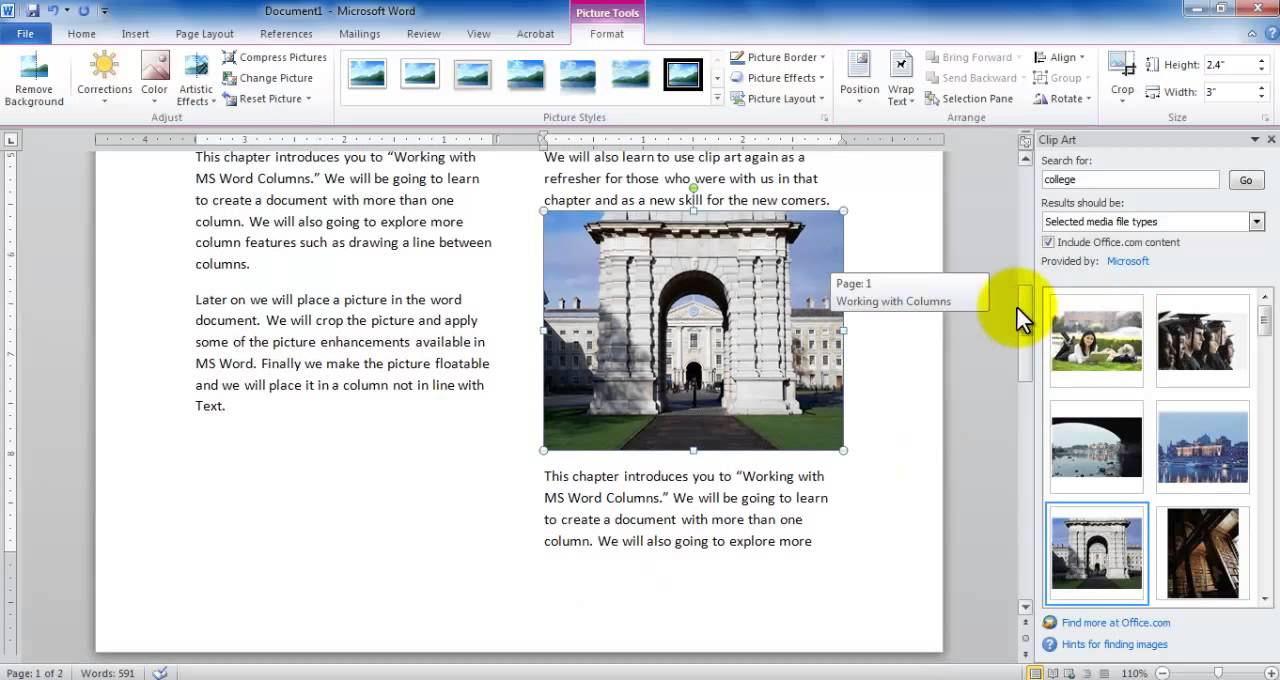 MS Word - Working with Columns and Clip Art - YouTube