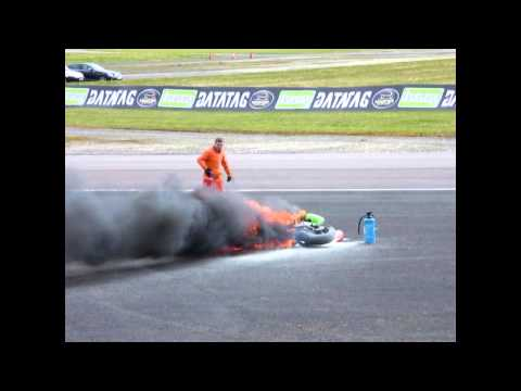 BSB Bike Crash + Fire! Thruxton 2013