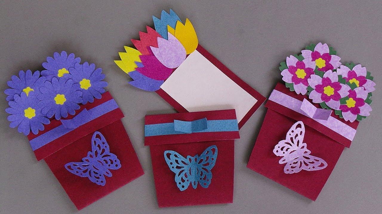 Cards Making Ideas Part - 34: DIY FLOWER POT CARD / HANDMADE GREETING CARD MAKING IDEAS