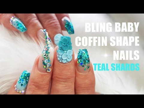 Acrylic Nails Short Coffin Bling Crystals Holographic