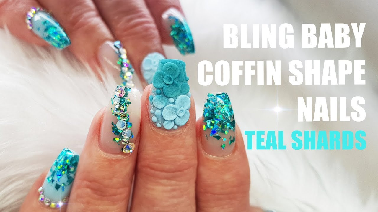 Acrylic Nails Short Coffin Bling Crystals Holographic Teal