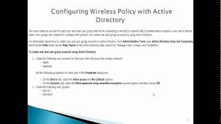 Configuring Wireless Policy with Active Directory