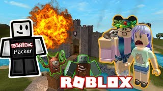 BUILD TO SURVIVE MONSTERS ROBLOX SISTERS BATTLE WITH HUNTRYS | LEGIT HACKERS DESTROYING OUR STUFF