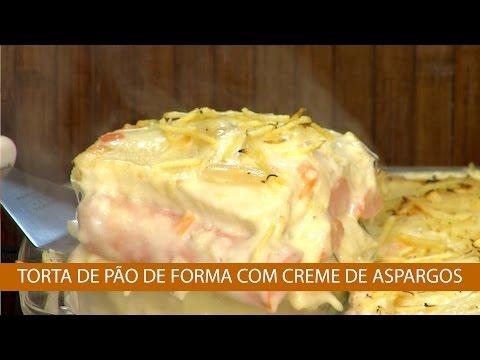 TORTA DE TORTA DE PÃO DE FORMA COM CREME DE ASPARGOS E ABOBRINHA GRATINADA