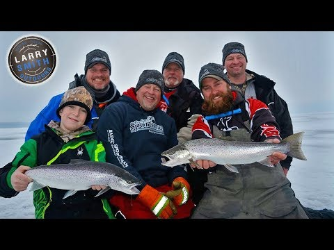 Brown Trout Ice Fishing on Lake Superior- Larry Smith Outdoors TV