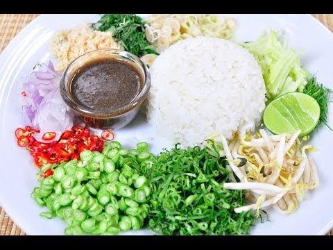 ข้าวยำน้ำบูดู - ข้าวยำปักษ์ใต้ Spicy Rice Salad with Vegetable