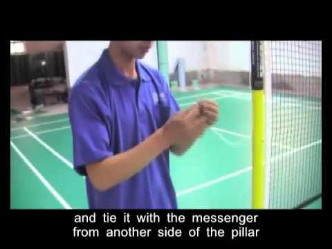 The installation method of Haokang badminton net setting pillars