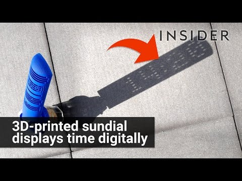 3D printed sundial displays the time digitally