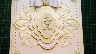 60. Cardmaking Tutorial - Ivory & White Anna Griffin Fretwork Fancy Wedding Card