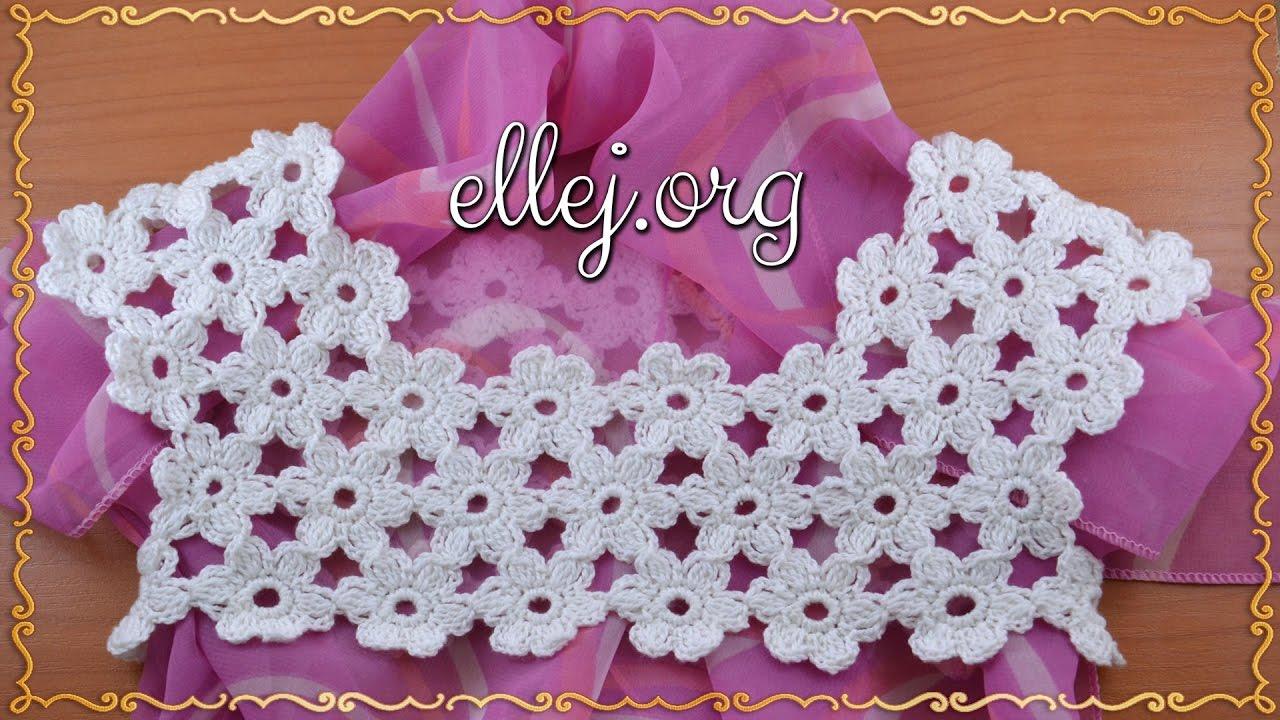 цветочная кокетка крючком безотрывное вязание Ellej Youtube