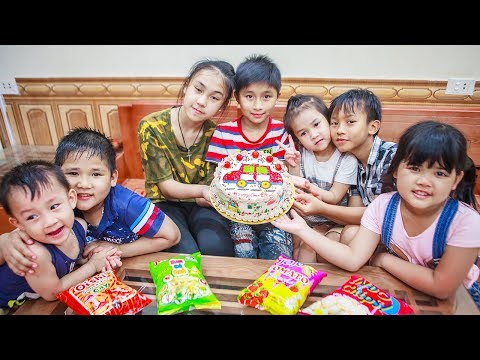 Kids Go To School | Day Birthday Of Brother Chuns And Children Make a Birthday Cake In The House