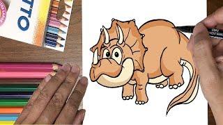 Dạy bé tập vẽ khủng long ba sừng