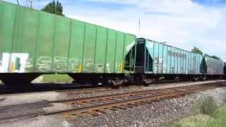 CN SD75I, CN EMD SD70ACe-P6 , new JRTX tank car, and former PC, CR covered hoppers