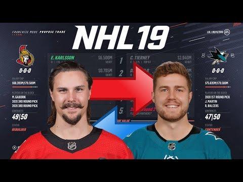 NHL 19 - ERIK KARLSSON TO SAN JOSE TRADE SIMULATION