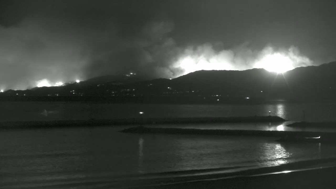 Malibu Fire Footage from Los Angeles Beach Cam