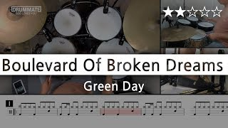 021 | Boulevard Of Broken Dreams - Green Day  (★★☆☆☆) Drum Cover Score Sheet Lessons Tutorial